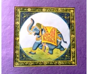 Handmade Miniature painting of Elephant on silk cloth