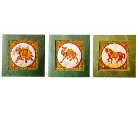 Handmade Miniature painting : Designer Trio of Elephant –Horse and Camel