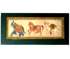 Handmade Miniature painting : Golden Trio of Elephant –Horse and Camel