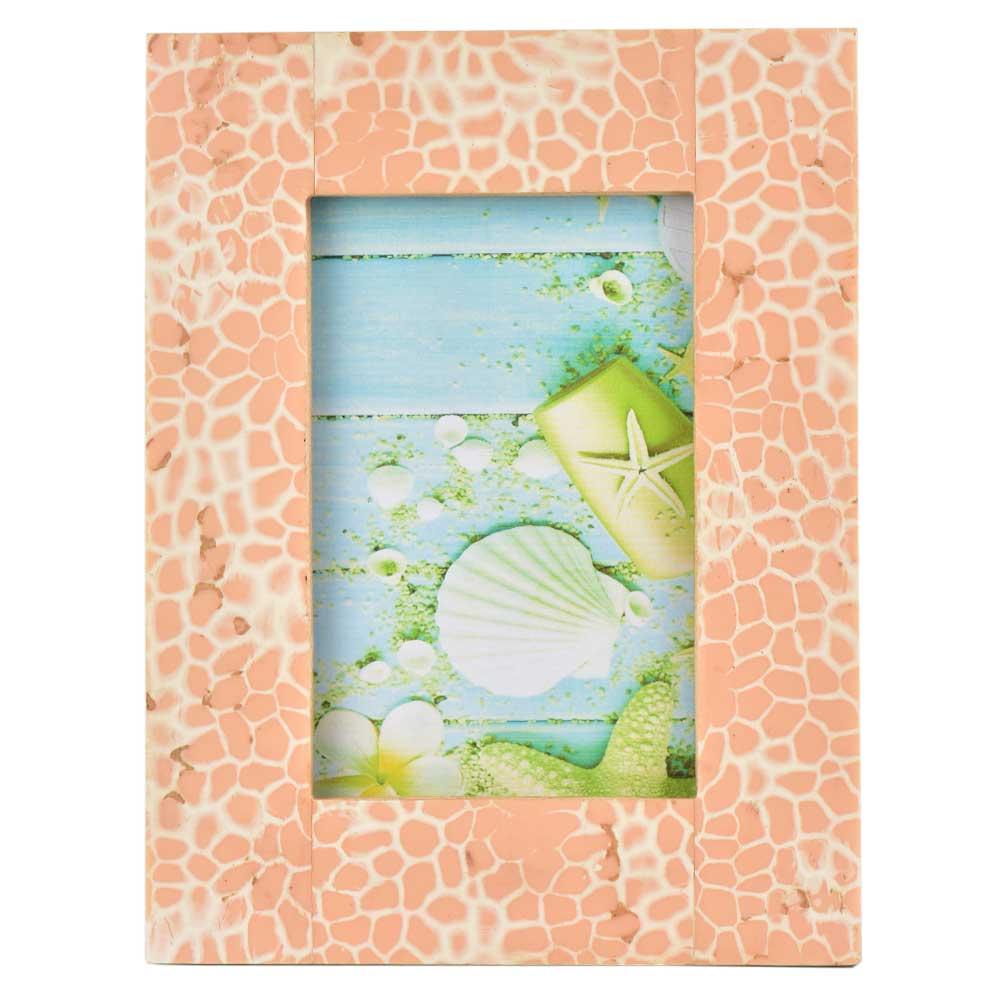 Handpainted Peach White Contemporary Design Photo Frame
