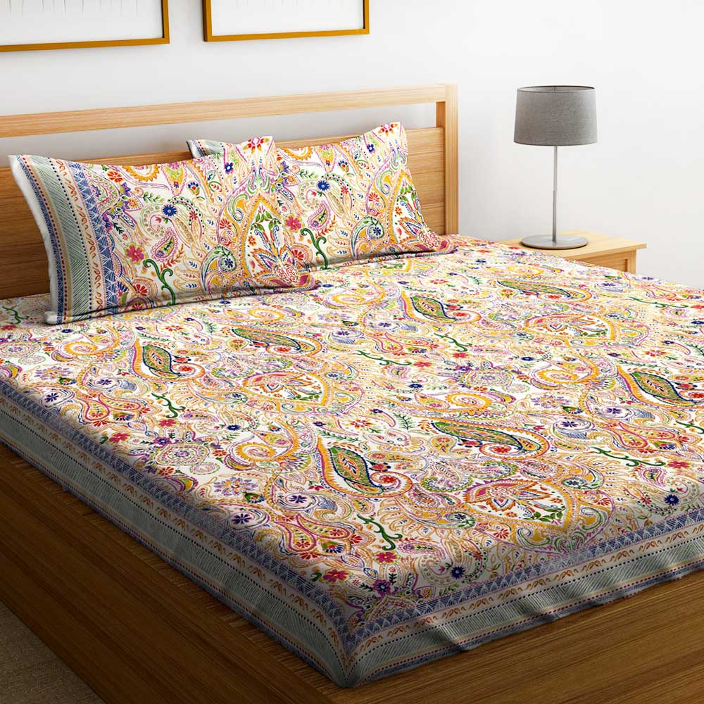 SWHF Premium Cotton Printed Double Bed Sheet with 2 Pillow Covers: