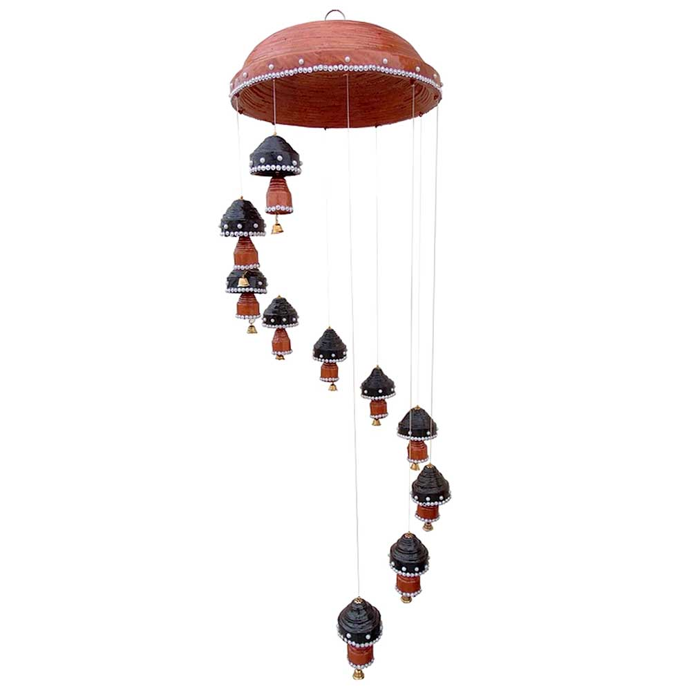 Wind Chime 10 Top 10 Double Bells Hanging In Black With Copper