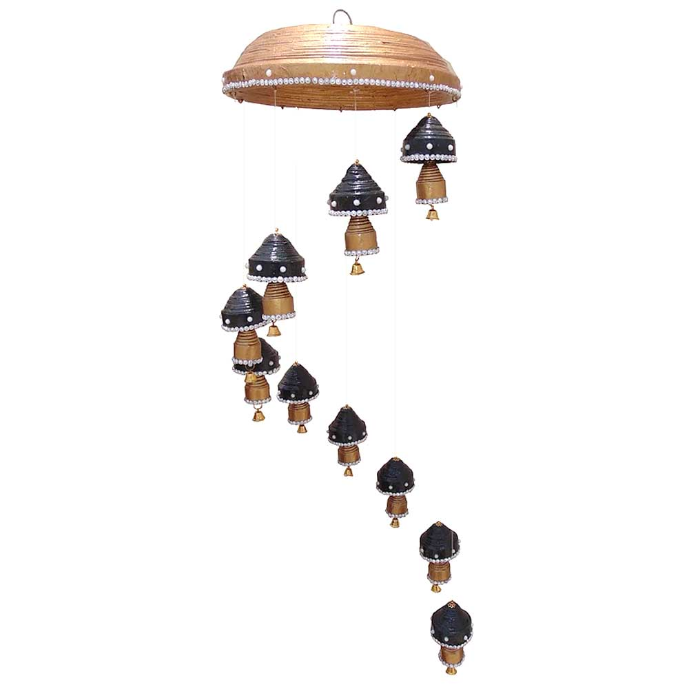 Wind Chime 10 Top 10 Double Bells Hanging In Black With Brass