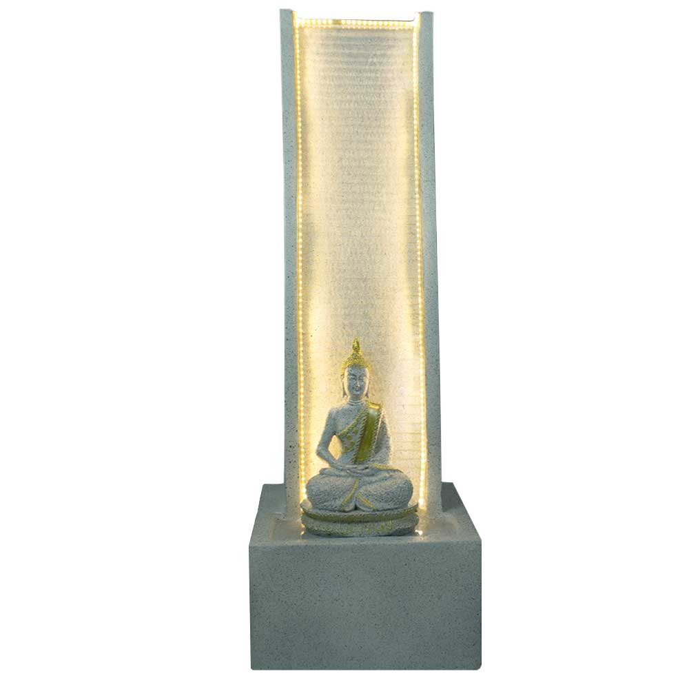 Slate Water Fountain with Lord Buddha Statue large In White