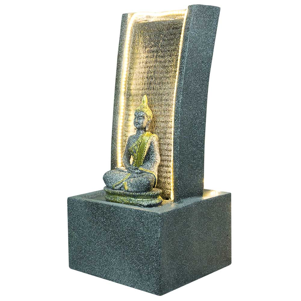 Slate Water Fountain With Lord Buddha Statue Small In Black