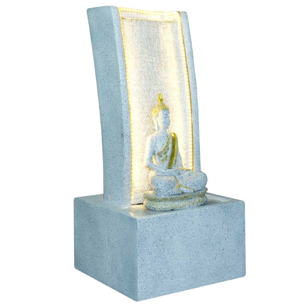 Slate Water Fountain With Lord Buddha Statue Small In White