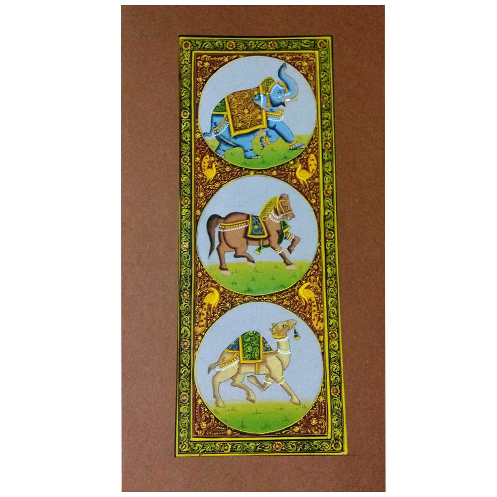 Handmade Miniature painting : Standing Trio of Elephant –Horse and Camel