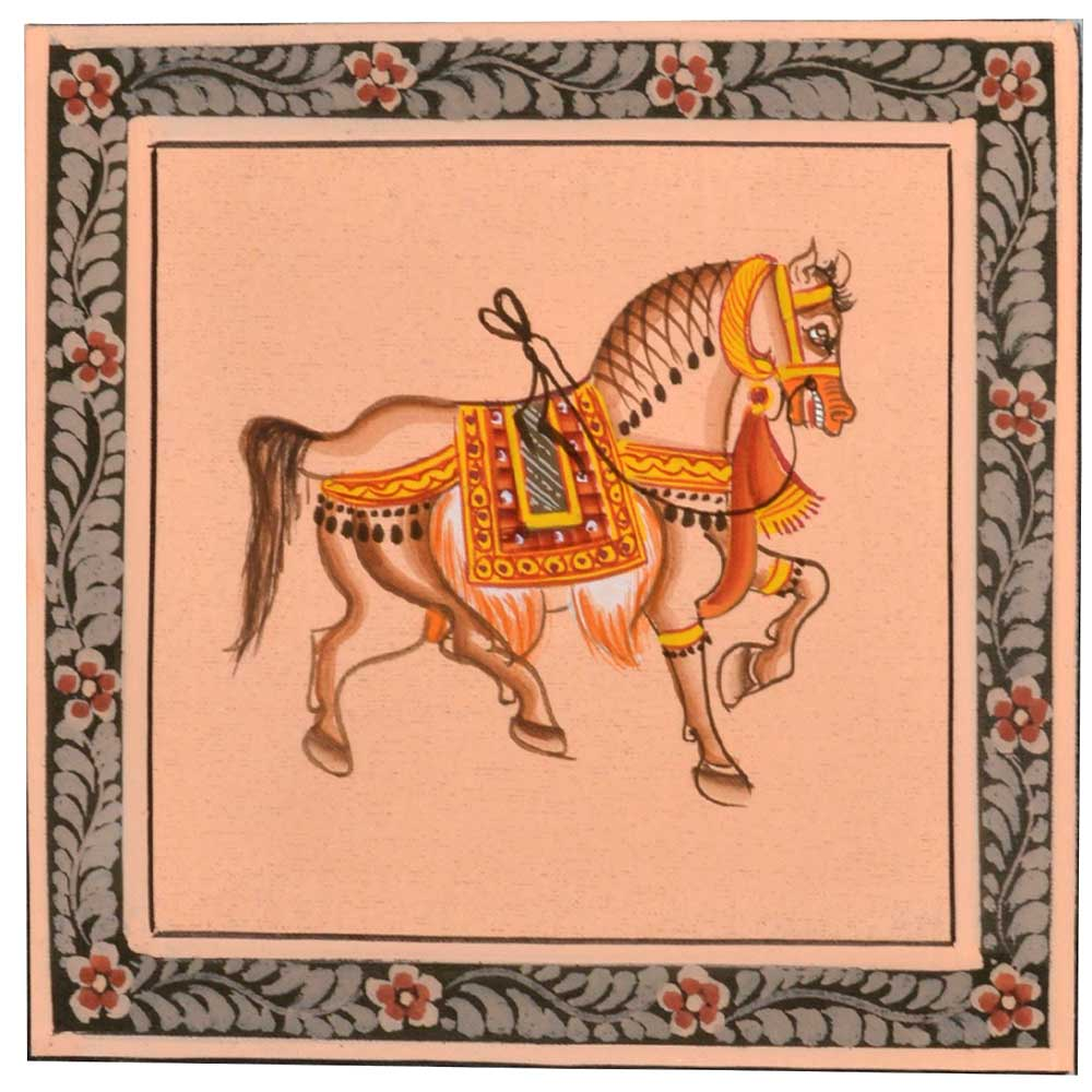 Handmade Greeting card -Miniature painting of Horse on silk cloth