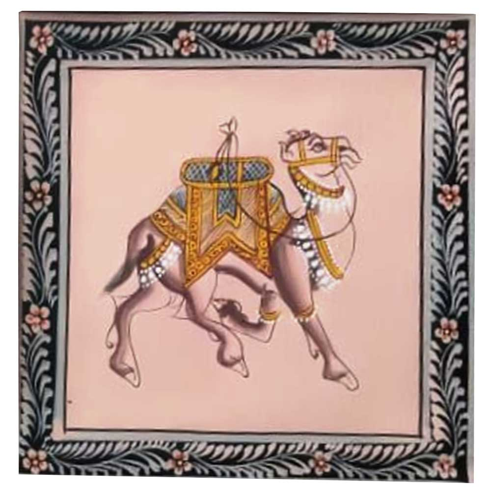 Handmade Greeting Card -Miniature painting of Camel on silk cloth