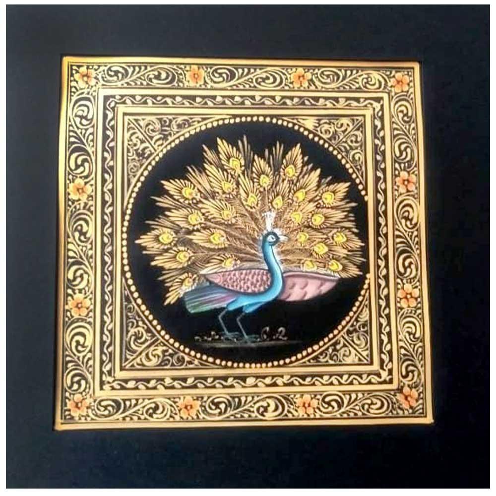 Handmade Miniature painting of Golden Dancing Peacock Combo