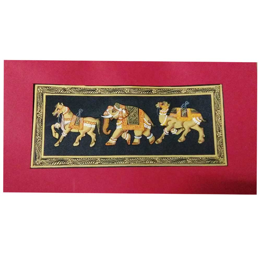 Handmade Miniature painting :  Trio of Elephant –Horse and Camel