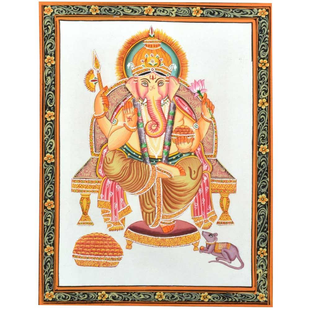 "Handmade Miniature painting of ""Lord Ganesha"" on silk cloth"
