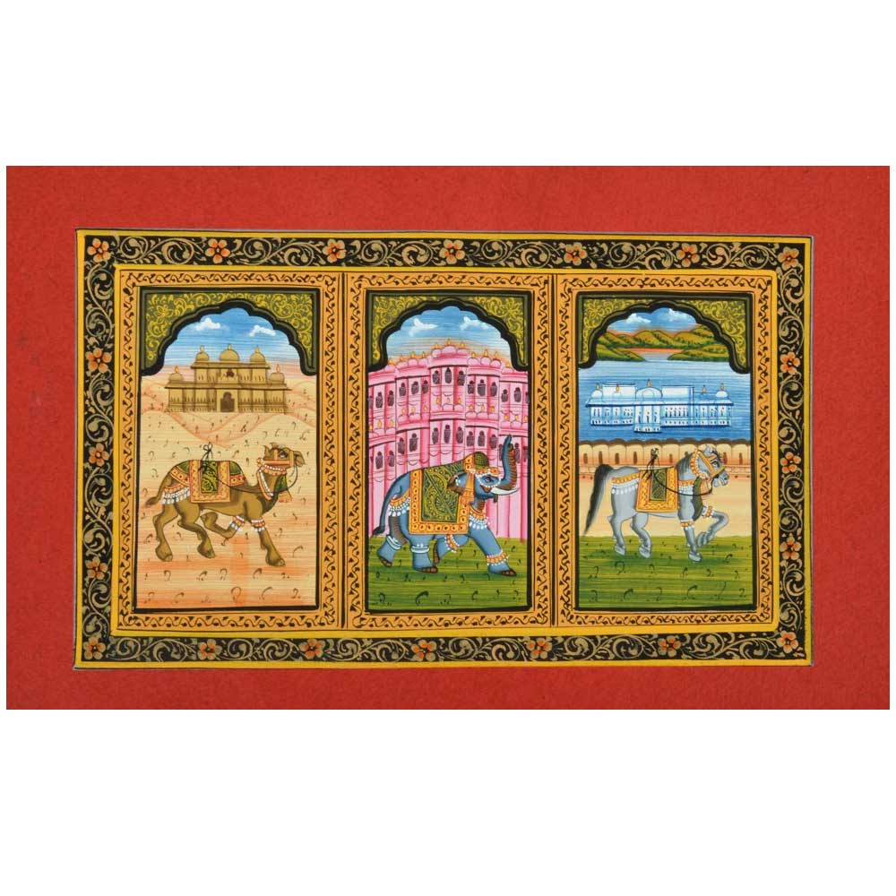 Handmade Miniature painting of decorative Elephant –Horse-Camel Trio