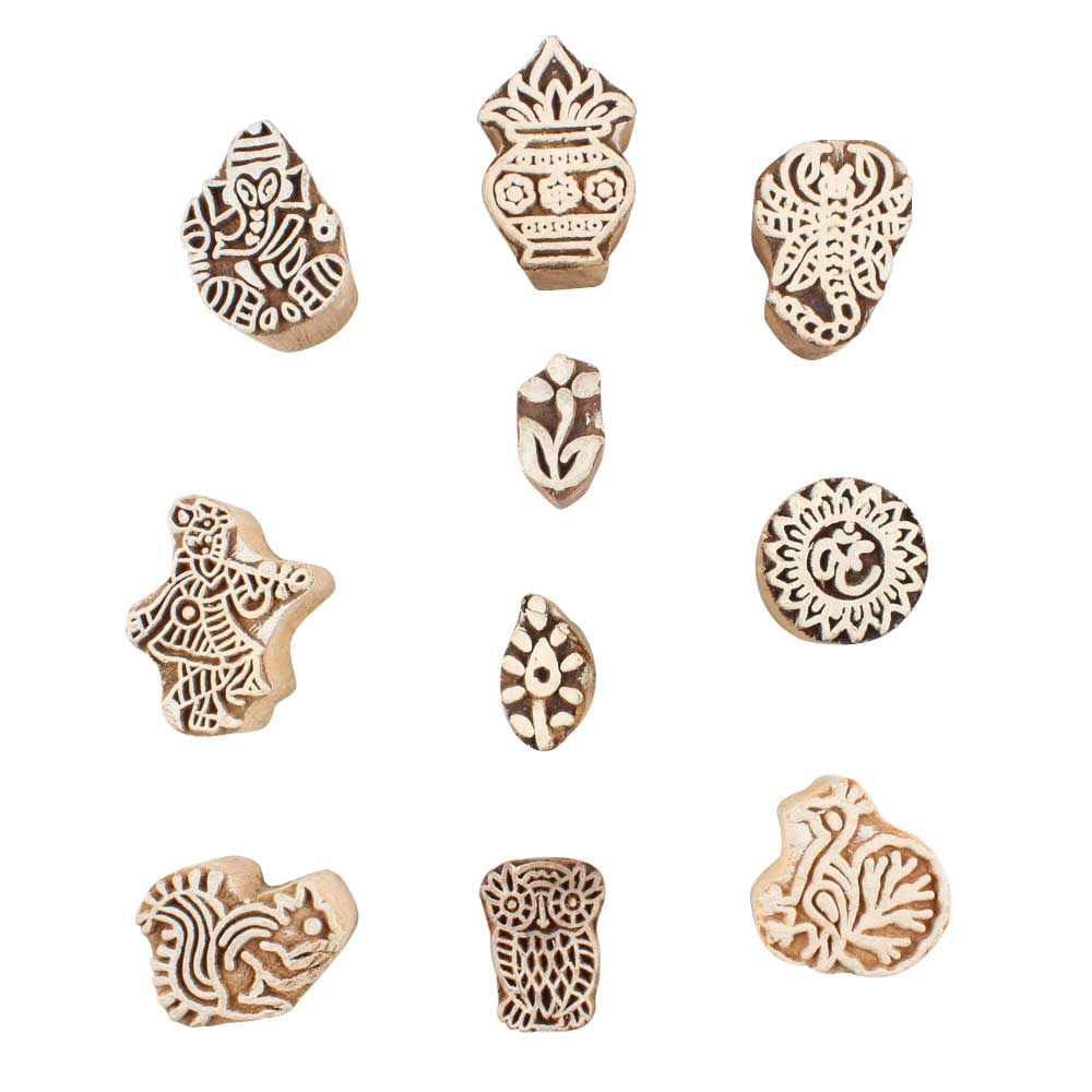 Set of 10 Piece New Mix Wooden Printing Block