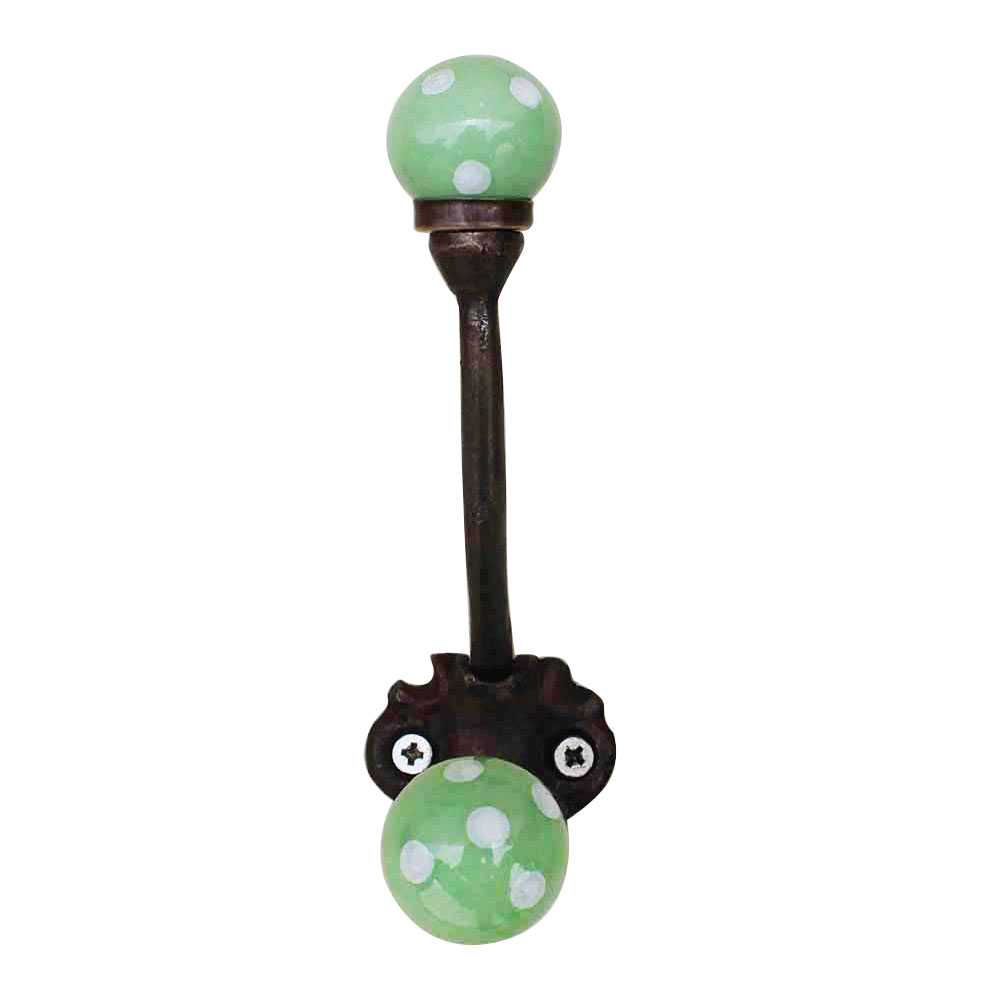 Pea Green Dot Iron Hooks-EHG-28