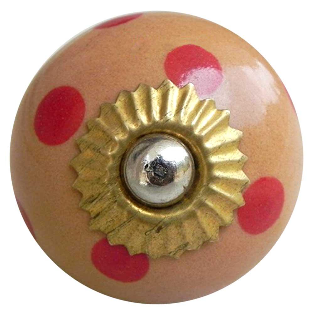 Beige Red Dotted Round Ceramic Knob