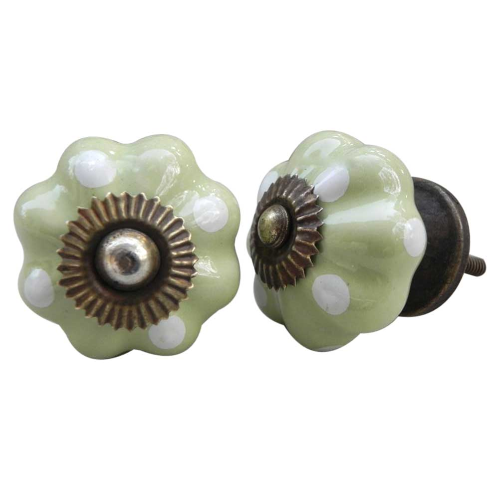 Light Lime White Polka Dresser Knob