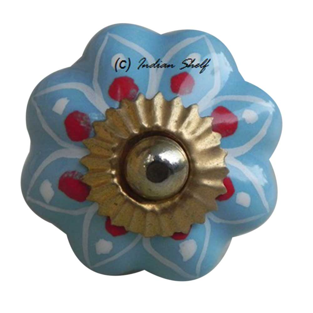 Turquoise Blue Red Polka Drawer Knob