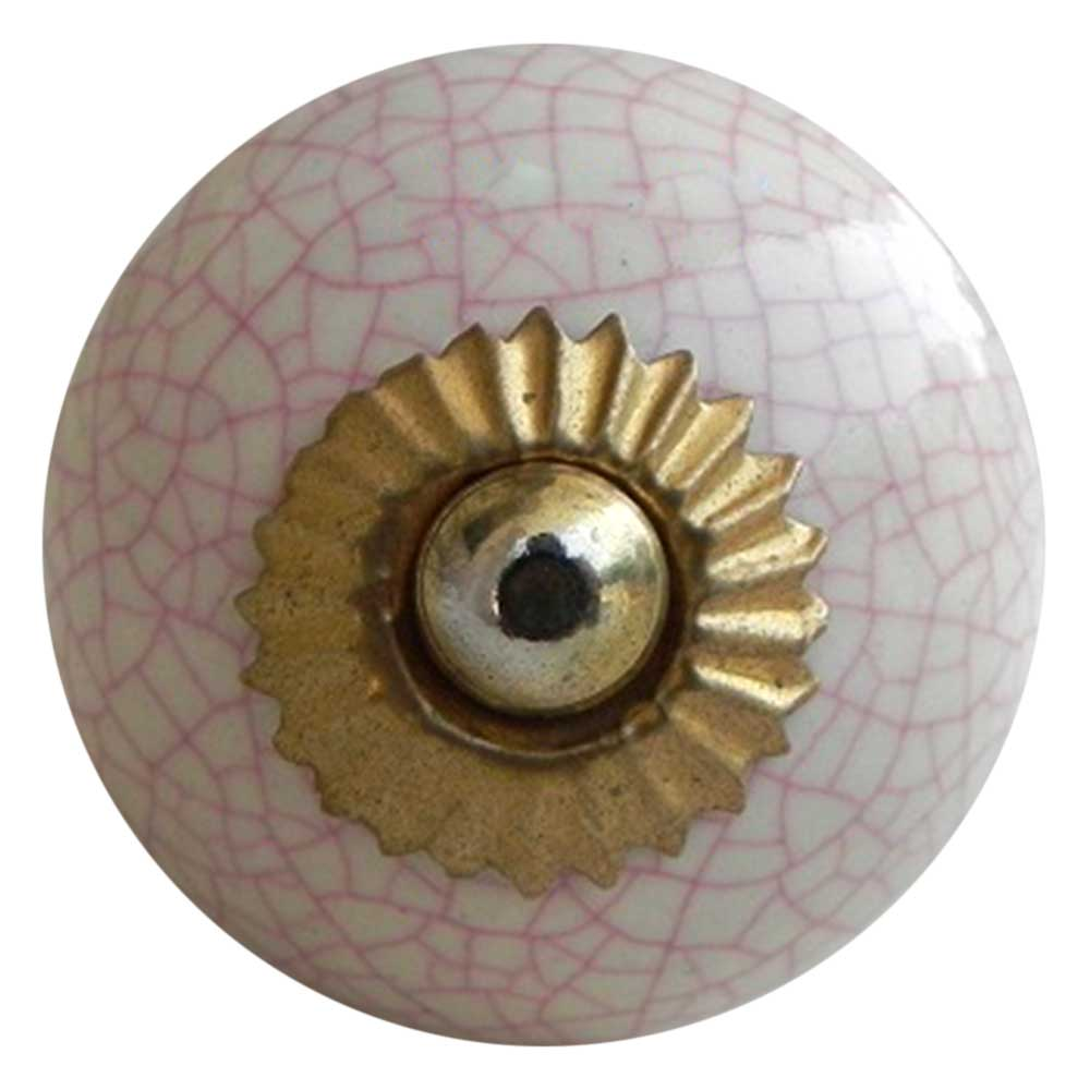 Cream Pink Crackle Crackle Drawer Knob Online