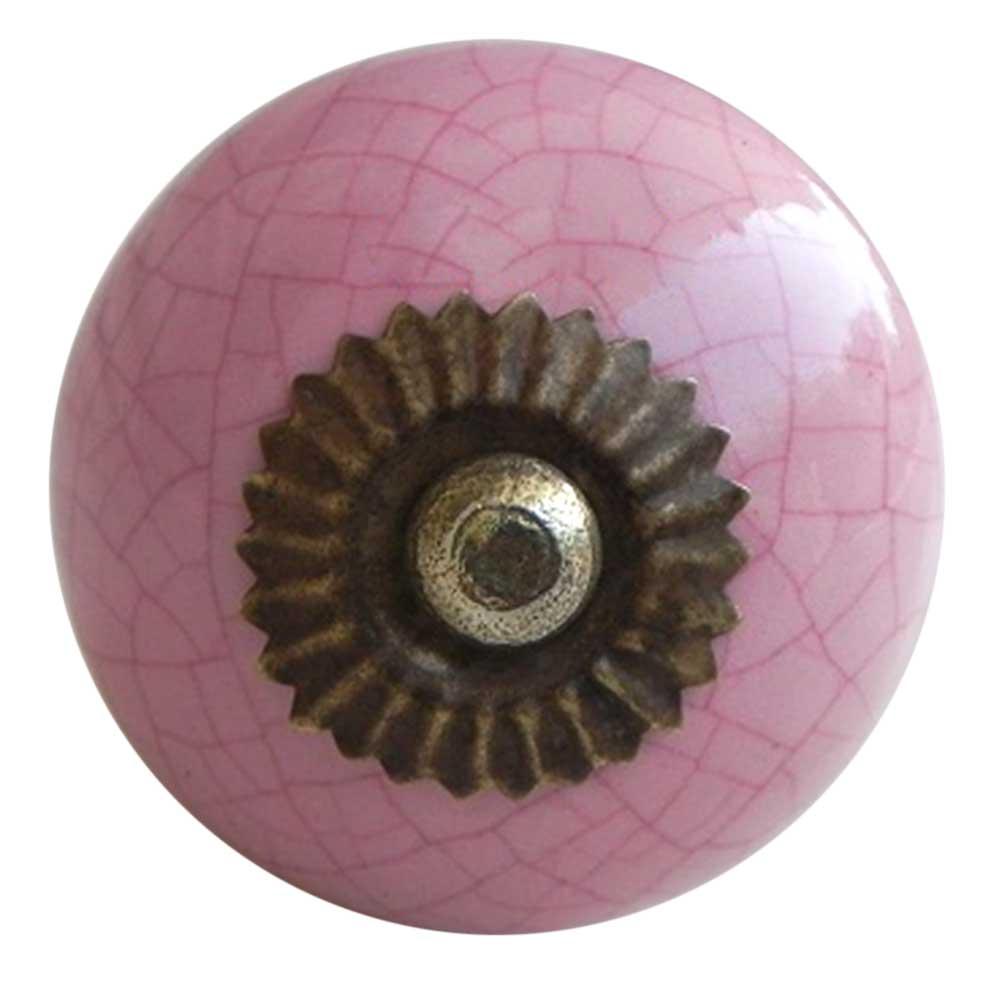 Pink Crackle Cabinet Knob