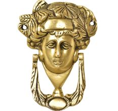 Handcrafted Brass Woman's Head Door Knocker