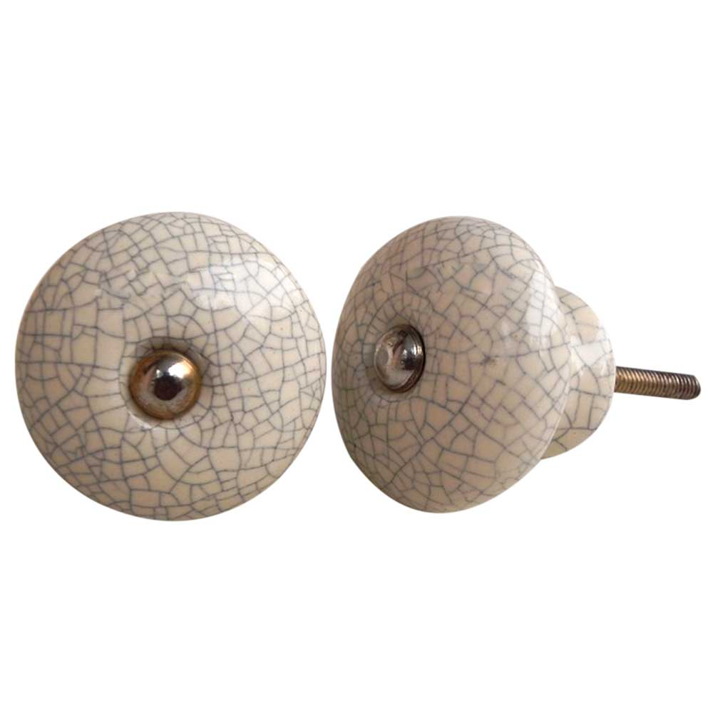 Cream And Black Crackle Ceramic Furniture Knob