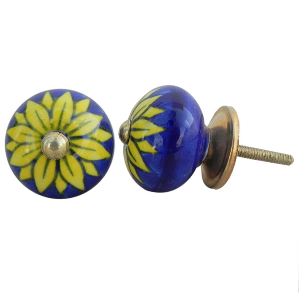 Navy Blue Floral Knob