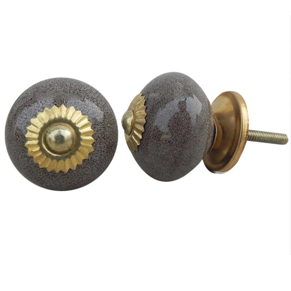 Brown Marble Dotted Ceramic Knob
