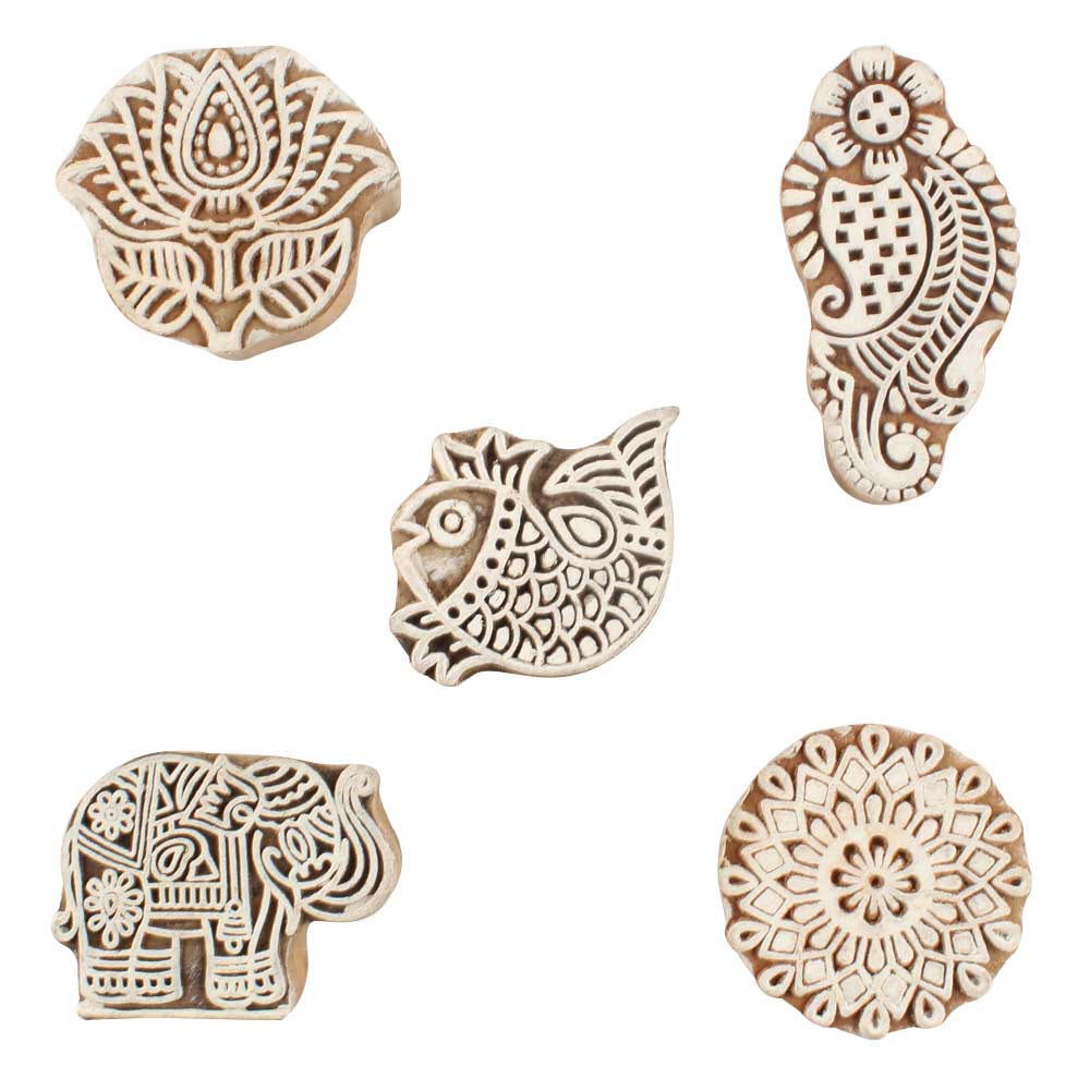 Set of 5 Piece New Wooden Printing Block