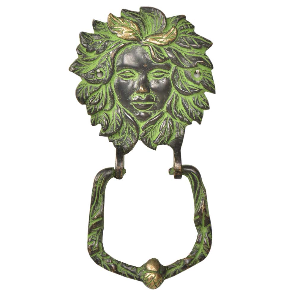 Brass Large Victorian lady Face Brass Door Knocker With Patina