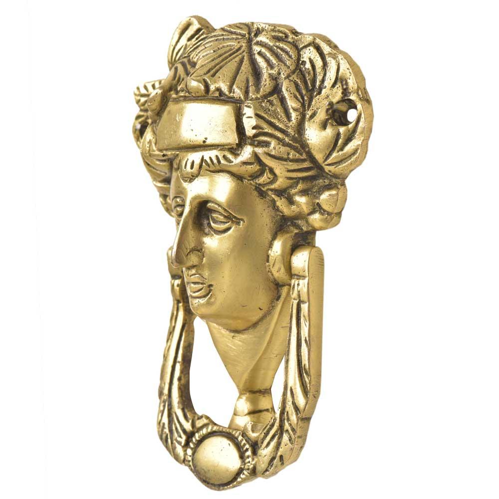 Handcrafted Brass Woman's Head Door Knocker