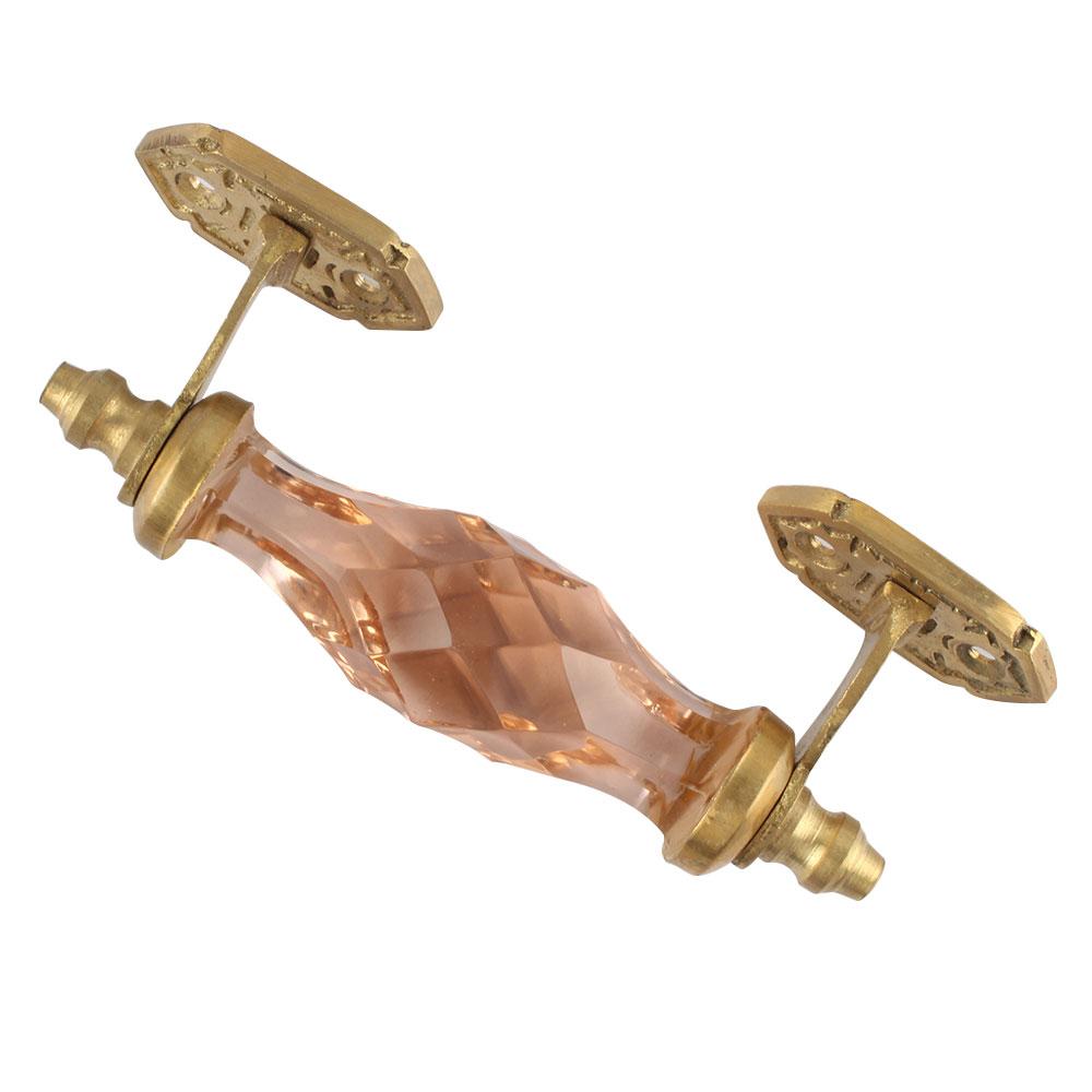 Pink Cut Glass Golden Small Door Handle