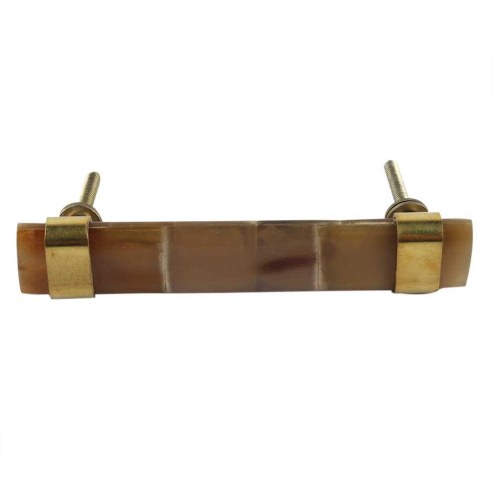 Brown Horn And Brass Door Handles