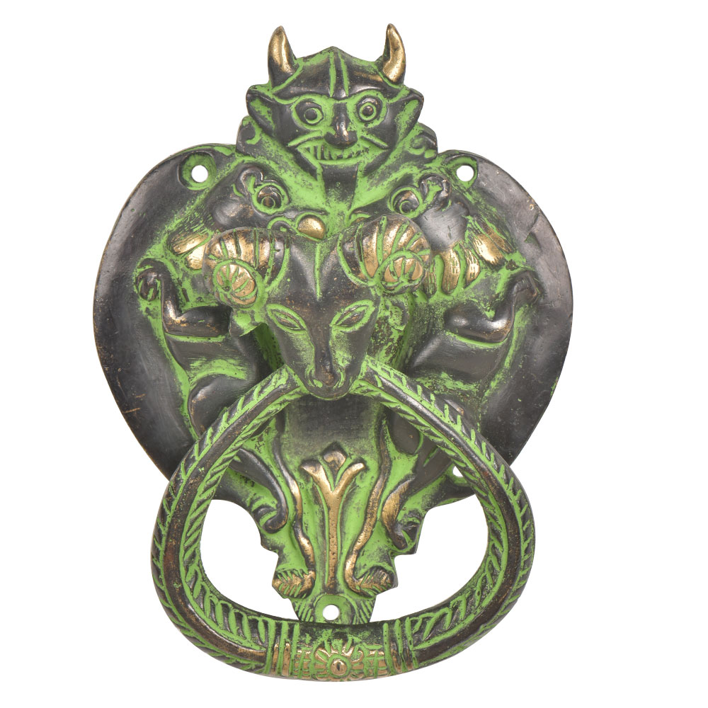 Handmade Brass Demon Two Lions Ram Head Door Knocker With Green Patina