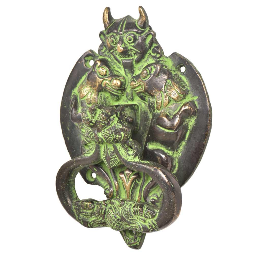 Brass Demon Two Elephants Dragon Head Door Knocker With Green Patina