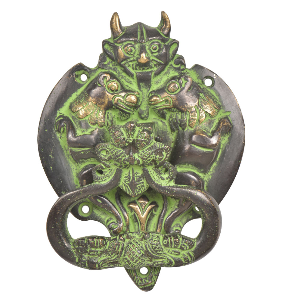 Brass Demon Two Elephants Dragon Head Door Knocker With Green Patina