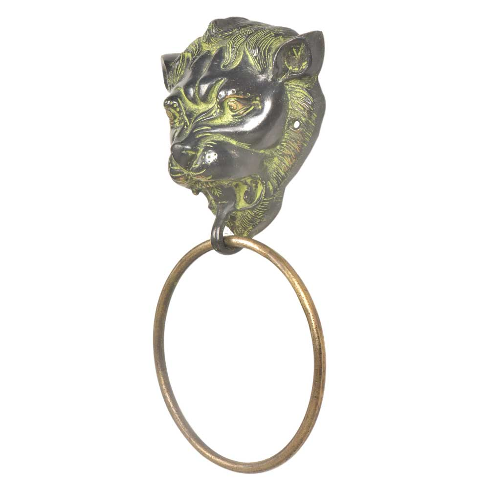 Black Brass Lion Head Towel Ring Bathroom Hardware