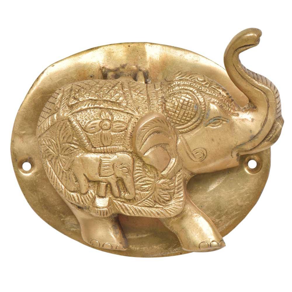 Engraved Brass Elephant Royal Statue Door Knocker