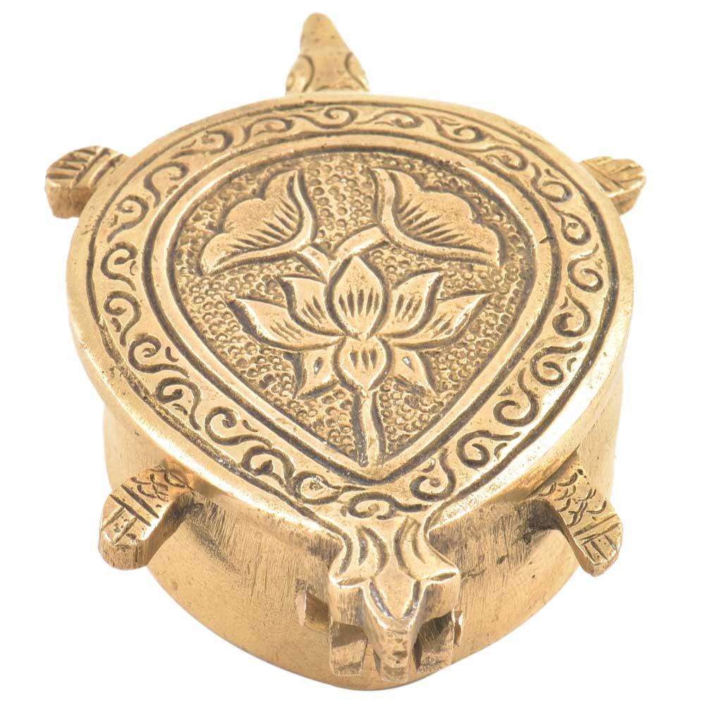 Brass Tortoise Turtle Shaped Sindoor Kumkum Box
