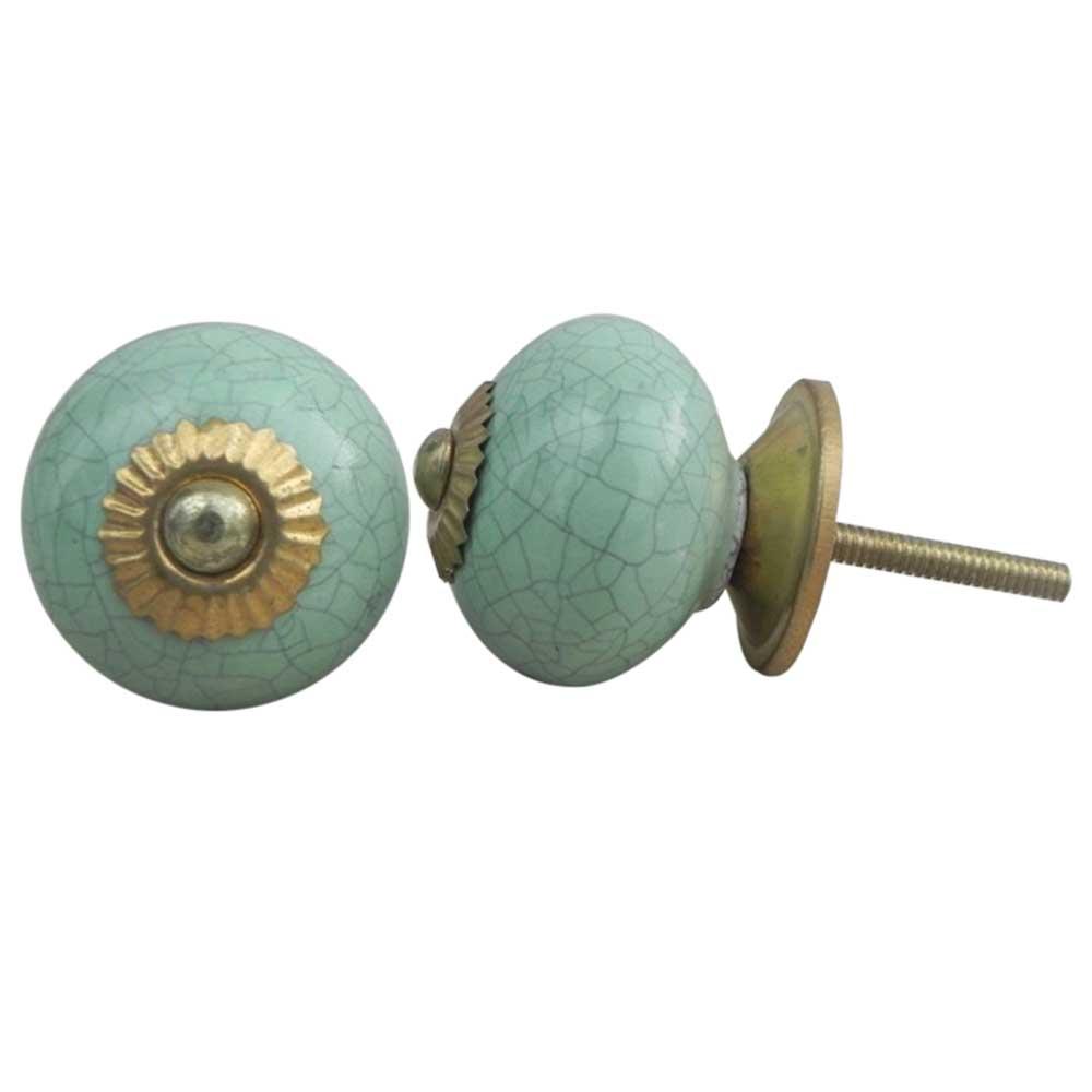 Mint Green Crackle Ceramic Cabinet Knob Online