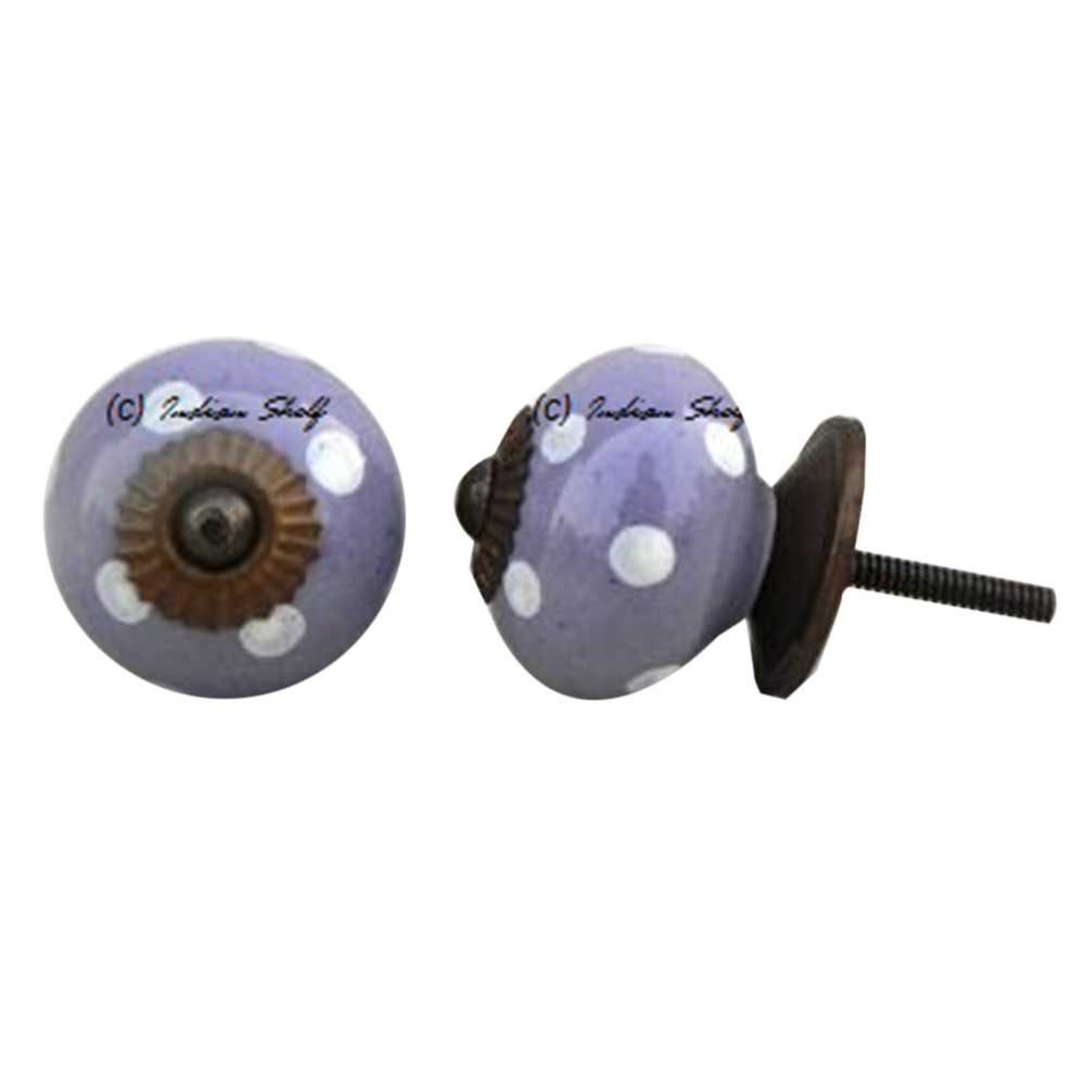 Purple White Polka Ceramic Knob