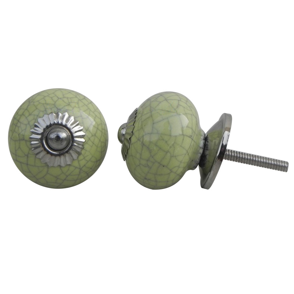 Lime Green Crackle Ceramic Drawer Knob