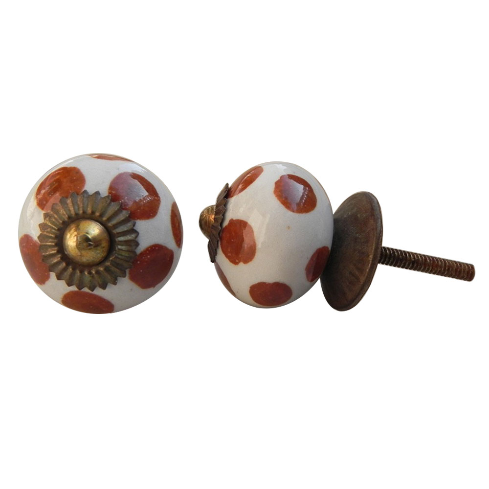 Brown Polka Dot Ceramic Knob