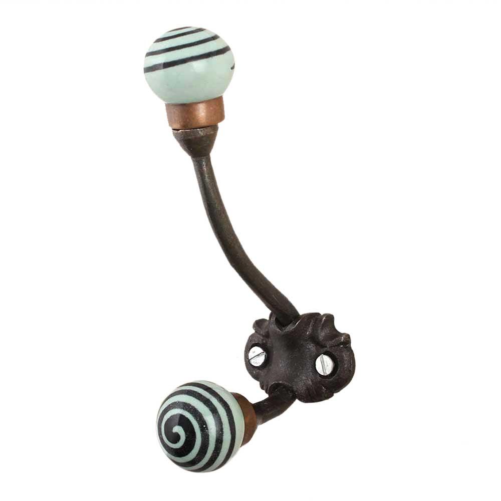 Sage Green Black Strip Iron Hooks-EHG-80