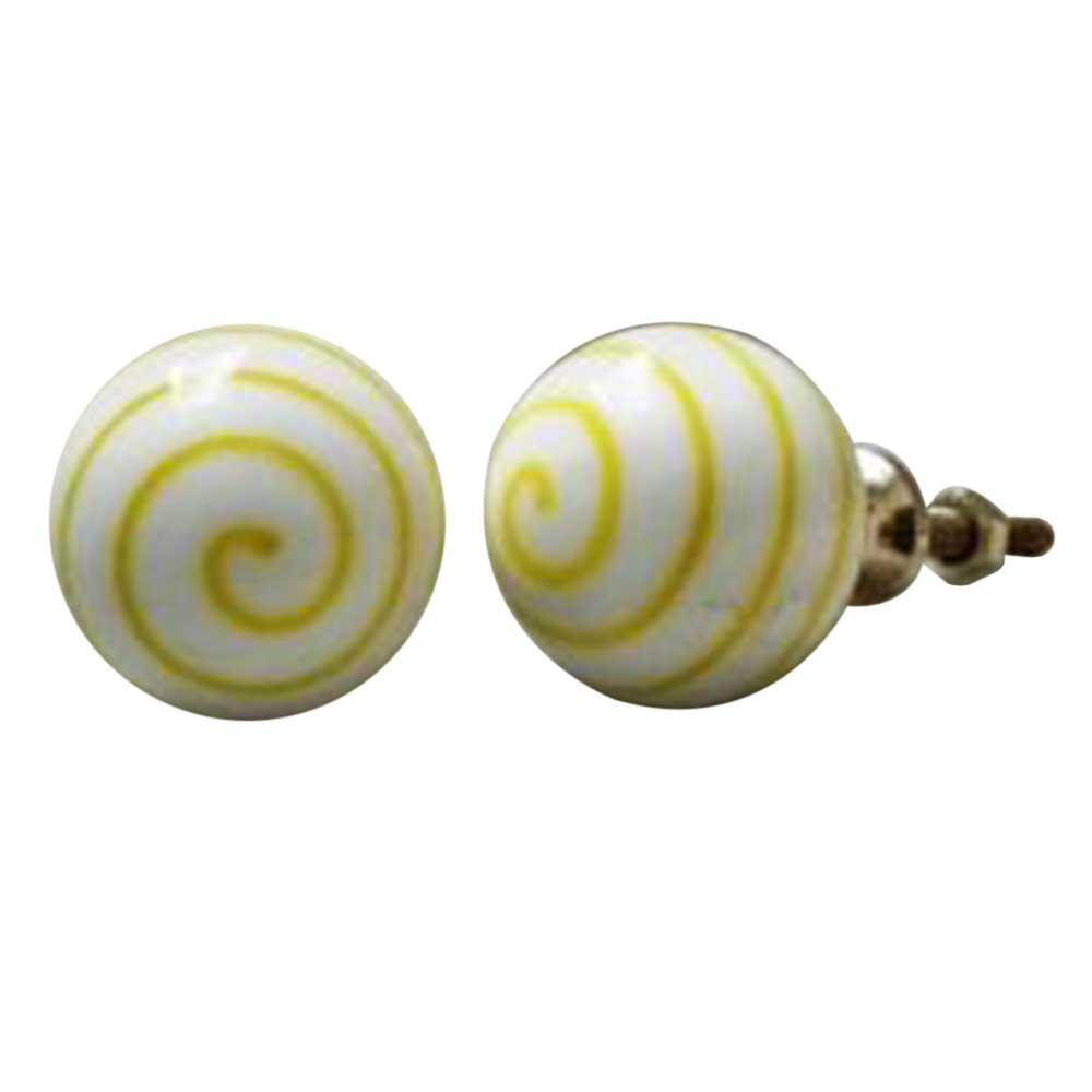 Yellow Striped White Knob
