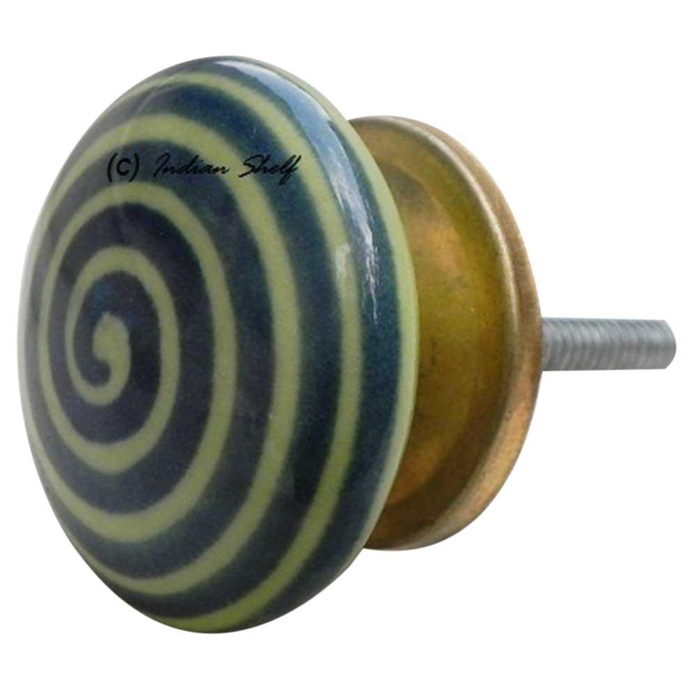 Green Striped Flat Knob