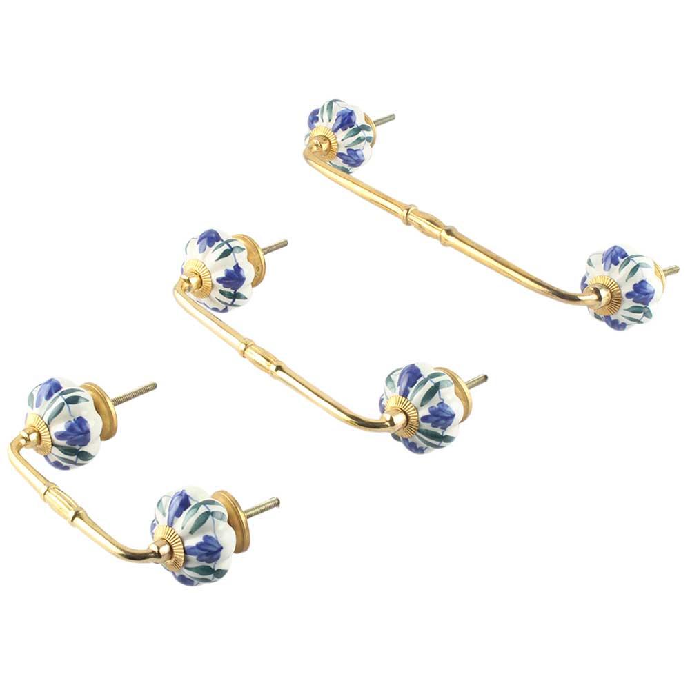 Blue Floral Ceramic Bridge Handle