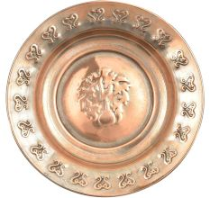 Vintage Solid Copper Plate Or Wall Hanging With  Repousse Floral Work