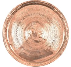 Vintage Etched Round Floral Borders Etched Copper Plate Wall Hanging