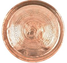 Vintage Etched Round Floral Diamond Borders Etched Copper Plate Wall Hanging